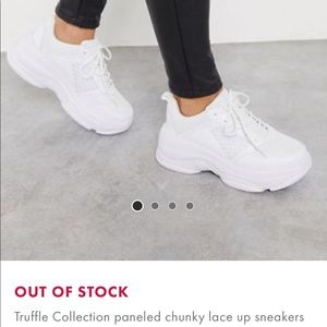 NEVERWORN ASOS CHUNKY LACE UP WHITE SNEAKERS